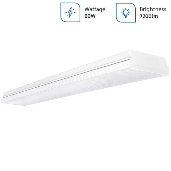 AntLux LED Office Ceiling Lights 60W 4FT LED Wraparound Light,7200 Lumens, 4000K Neutral White, 4 Foot LED Light Fixture Flush Mount Wrap Shop Light for Garage Workshop, Fluorescent Light Replacement