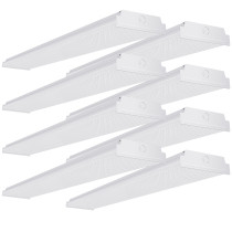 AntLux 4ft LED Garage Shop Lights LED Wraparound Light Fixture, 50W 5500LM, 4000K Neutral White, Integrated Low Profile Linear Flush Mount Ceiling Lighting, 128W Fluorescent Tube Replacement, 8 Pack