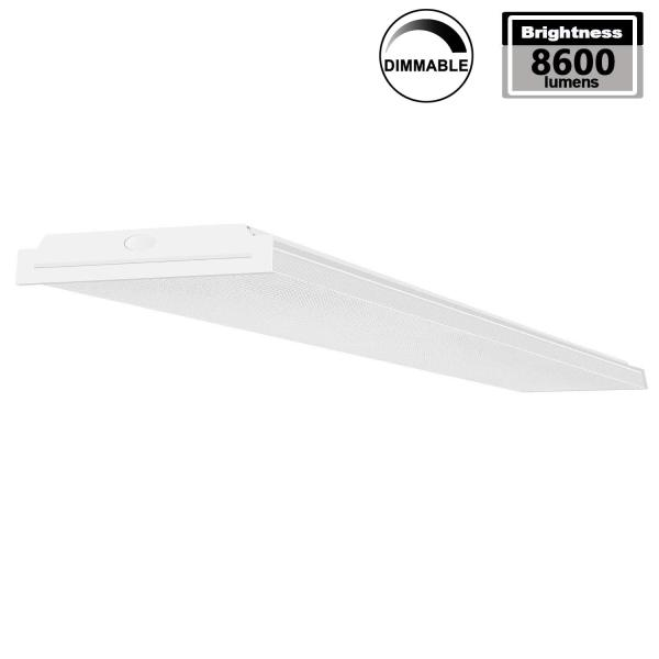 AntLux 72W LED Wraparound Lights 4FT LED Office Ceiling Light, 1-10V Dimmable, 8600 Lumens, 4000K Neutral White, 4 Foot Flush Mount Garage Shop Lighting Fixture, Fluorescent Light Replacement