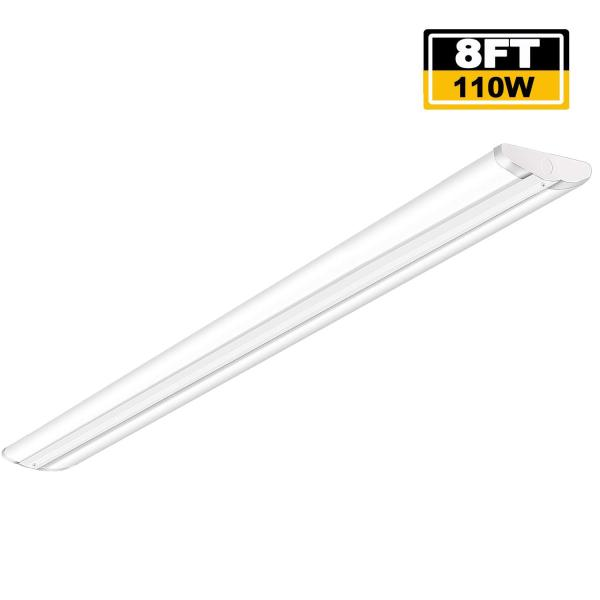 AntLux 110W 8FT LED Wraparound Ultra Slim Strip Lights, 12600 Lumens, 5000K, 8 Foot LED Garage Warehouse Light, No Glare, Flush Mount Office Ceiling Lighting Fixture, Fluorescent Tube Replacement