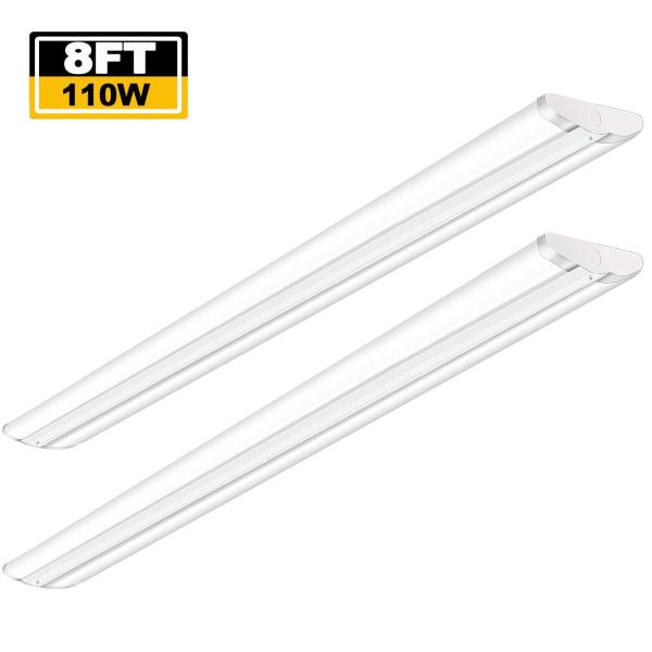 AntLux 110W 8FT LED Wraparound Ultra Slim Strip Lights, 12600LM, 5000K, 8 Foot LED Garage Shop Lights, Flush Mount Warehouse Office Ceiling Lighting Fixture, Fluorescent Tube Replacement, 2 Pack