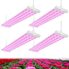 AntLux 4ft LED Grow Light 80W (600W Equivalent) Full Spectrum Integrated Growing Lamp Fixture for Greenhouse Hydroponic Indoor Plant Seedling Veg and Flower, Plug in with on/Off Switch, 4 Pack