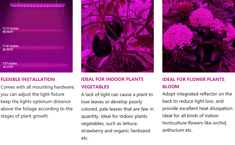 Antlux 4ft Led Grow Light Plant Growing Lamp 50w