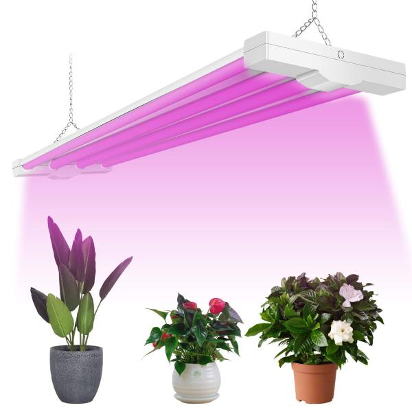 AntLux 4ft LED Grow Light 80W (600W Equivalent) Full Spectrum Integrated Growing Lamp Fixture for Greenhouse Hydroponic Indoor Plant Seedling Veg and Flower, Plug in with on/Off Switch(TO US, CAN)