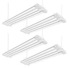 AntLux 4ft LED Shop Light Fixture for Garage 80W, 4 Lamps 9600 Lumens, 5000K, Utility Led High Bay Light, 250W Fluorescent Equivalent, Plug in with on/Off Switch, 4 Pack