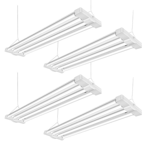 AntLux 80W 4ft LED Shop Light Fixture for Garage, 4 Lamps 9600 Lumens, 5000K, Utility Led High Bay Light, 250W Fluorescent Equivalent, Plug in with on/Off Switch, 4 Pack