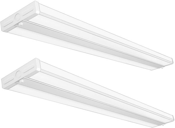 AntLux 4FT LED Wraparound Light Fixture 50W Ultra Slim Wrap Around Lights, 5500lm, 4000K, 4 Foot LED Shop Lights for Garage, Kitchen, Office, Gym, Surface or Suspended, Fluorescent Replacement, 2 Pack