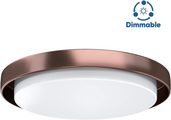 LED Flush Mount Ceiling Light, AntLux 18in Dimmable Round Lighting Fixture, 60W 6600lm 4000k Neutral White LED Ceiling Fixtures Surface Mount for Kitchen, Living Room, Bedroom, (Bronze Body)
