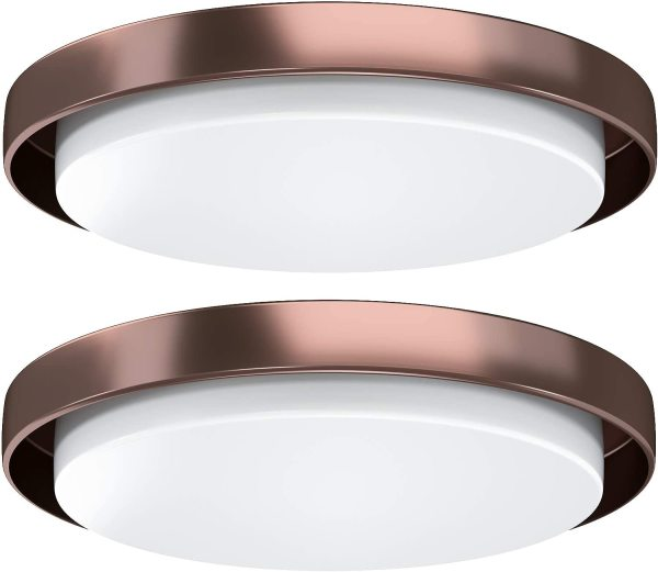 AntLux 14 inch LED Ceiling Flush Mount, 460W Incandescent Equivalent, 50W 4000K 5500LM, CRI90 Oil Rubbed Bronze LED Round Ceiling Light Fixture for Kitchen Bathroom Bedroom Dining Room Office, 2 Pack
