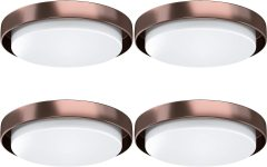 LED Flush Mount Ceiling Light, AntLux 18.5in Dimmable Round Lighting Fixture, 60W 6600lm 4000k Neutral White Commercial LED Ceiling Fixtures Surface Mount for Kitchen, Living Room, Bedroom, 4 Pack (Bronze Body)