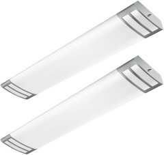 AntLux 4ft LED Kitchen Light Fixtures 40W 4500lm LED Flush Mount Linear Lights, 4000K, 4 Foot led Kitchen Ceiling Light fixtures for Living Room, Laundry, Replace for Fluorescent Version 2 Pack