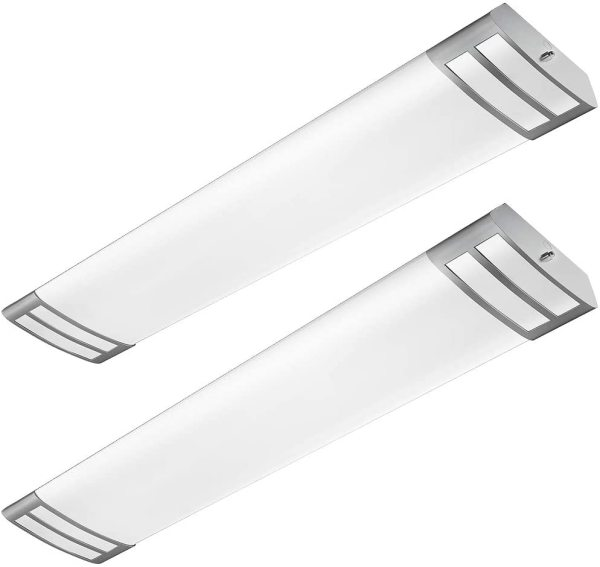 AntLux 4ft LED Flush Mount Linear Lights 40W 4500lm Kitchen Light Fixtures, 4000K, 4 Foot led Kitchen Ceiling Light fixtures for Living Room, Laundry, Replace for Fluorescent Version 2 Pack