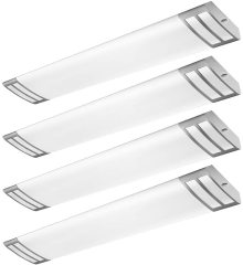 AntLux 4FT LED Flush Mount Puff Lights, 40W 4500LM Linear Light, 4000K Neutral White, 4 Foot Integrated LED Wraparound Ceiling Lighting Fixtures for Kitchen Laundry, Fluorescent Replacement, 4 Pack