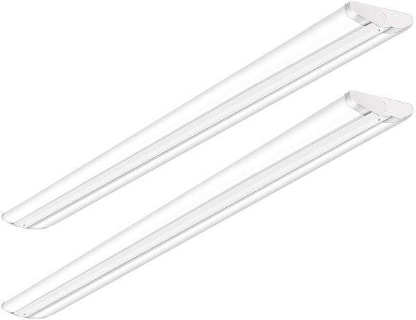 AntLux 110W 8FT LED Wraparound Ultra Slim Strip Lights, 12600LM, 5000K, 8 Foot LED Garage Shop Lights, Flush Mount Warehouse Office Ceiling Lighting Fixture, Fluorescent Tube Replacement, 2 Pack