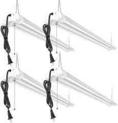 Linkable LED Garage Shop Lights 4ft 4800lm, 40W 5000K Daylight, Plug and Play, No Spot Dot, No Glare, ETL Certified, Durable Fixture with Pull Chain Mount, Daisy Chain Hardware Included, 4 Pack(TO US, CAN)