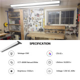 4FT LED Light Fixture 50W Ultra Slim LED Shop Lights for Garage, No Glare, 5500 Lumens, 4000K Neutral White, 4 Foot Flush Mount Ceiling Led Wrap Light for Workshop, 4 Pack