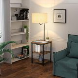 AntLux LED Floor Lamp with End Table - USB Charging Port, Power Outlet, Bedside Table with Shelves, Rustic Night Stand with Industrial Floor Light for Living Room, Bedroom, Guest Room, Edison Bulb
