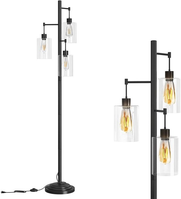 AntLux LED Floor Lamp with Hanging Glass Shade, Industrial LED Standing Lamp with On/Off Foot Switch, 3-Lights Reading Tall Pole Lamp for Living Room, Bedroom, Office(LED Bulbs Included)