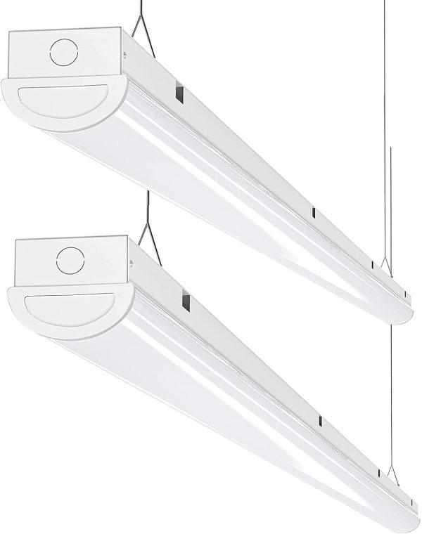 AntLux 8FT LED Shop Light 110W Linear Strip Lights Linkable, 12000 Lumens, 5000K, 8 Foot Garage Lights, Surface Mount and Hanging Ceiling Lighting Fixture, 2 Pack