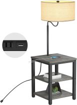 AntLux Floor Lamp with Side Table - USB Charging Port, Power Outlet, End Table and Lamp, Modern Bedside Nightstand with Industrial Floor Light for Living Room, Bedroom, Edison LED Bulb, Gray
