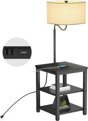 AntLux Floor Lamp with Side Table - USB Charging Port, Power Outlet, End Table and Lamp, Modern Bedside Nightstand with Industrial Floor Light for Living Room, Bedroom, Edison LED Bulb, Black