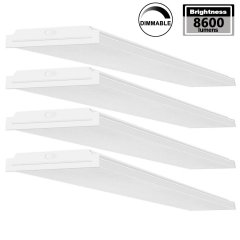 AntLux 72W LED Office Lights 4FT, 1-10V Dimmable LED Wraparound Light, 8600 Lumens, 4000K Neutral White, 4 Foot Flush Mount Wrap Garage Shop Light Fixtures Fluorescent Tube Replacement, 4 Pack