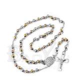 bisutería fina rosarios con bolitas doradas y plateado en acero