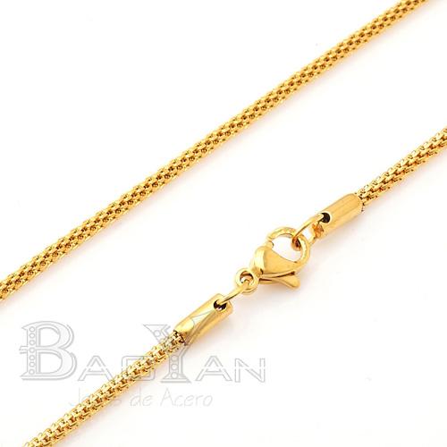 Oro Banado Torzal de Cadena de Acero