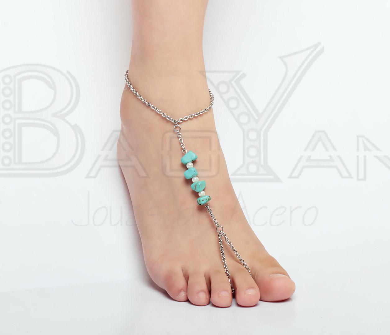 semi esmeralda con perlas cadena de tobillo hasta el dedo
