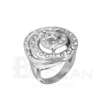 precio medio anillo compromiso plateado de acero de forma flor con diamante