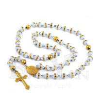blancas y doradas  bolitas rosarios de venta de joyas de acero
