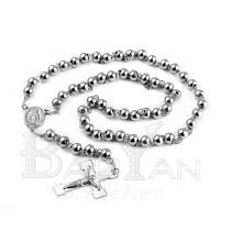 diseño liso rosario plateado de venta de joyería online