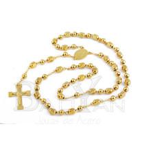 collar de rosario dorado de jesu de bisutería fina