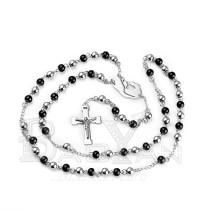 plateados rosarios finos con bolitas negras en acero inoxidable