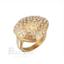 Moda chapado en oro anillo solitario de las mujeres de acero