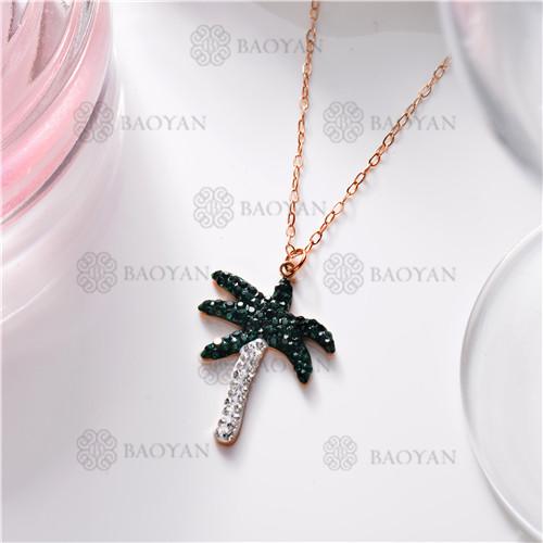 Collar de Cristal en Acero Inoxidable -SSNEG149-11444