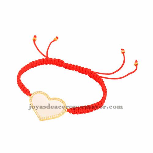pulsera rojo de pluma oro laminado para mujer BRBTG00063