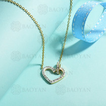 collares de acero inoxidable para mujer -SSNEG143-15382-G