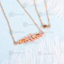 Collar de Gemstone Circon en Bronce Oro 18k -BRNEG155-799