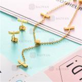 Counjunto de Collar y Aretes en Acero Inoxidable -SSNEG126-6945
