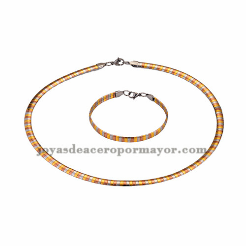 gargantilla y brazalete ancho 6mm tres color en acero inoxidable- SSNEG462694