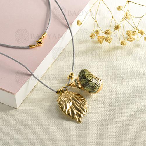 conjunto de collar y aretes en acero inoxidable -SSNEG142-15093