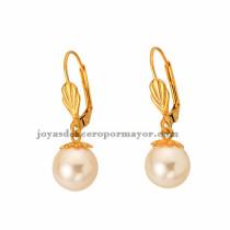 pendiente de perla en acero dorado venta para mujeres-SSEGG392091