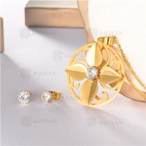 conjunto de dorado en acero inoxidable-SSNEG107-10096