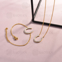 Conjunto de pulseras y Collar para Mujer en Acero Inoxidable -SSCSG143-14808-G