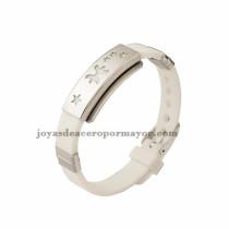 blanco brazalete con estrellas de silicona en acero para mujer-SSBTG942906