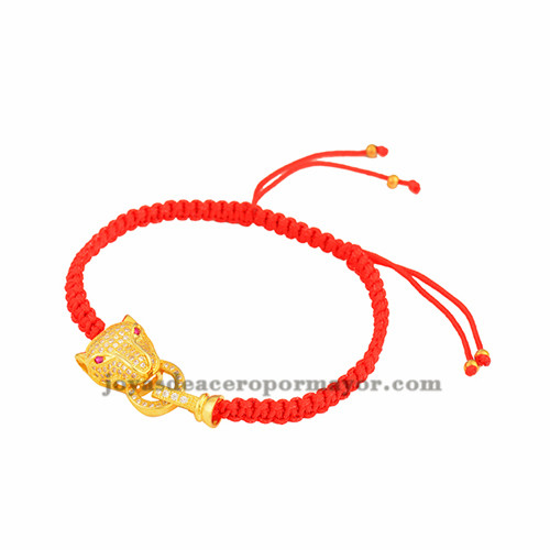 pulsera rojo de leopardo oro laminado para mujer BRBTG00060