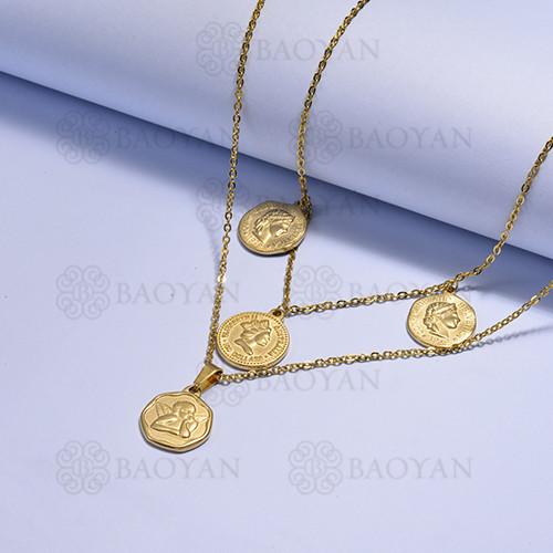 collares multi capa de Acero Inoxidable medalla para Mujer -SSNEG171-14725