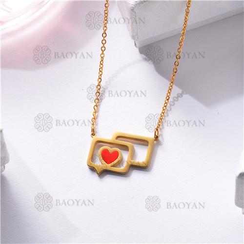 Collar Regalo para Novia en el Dia de Amor en Acero Inoxidable -SSNEG143-11337