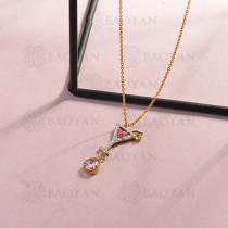collar de acero inoxidable para mujer -SSNEG143-14812-G